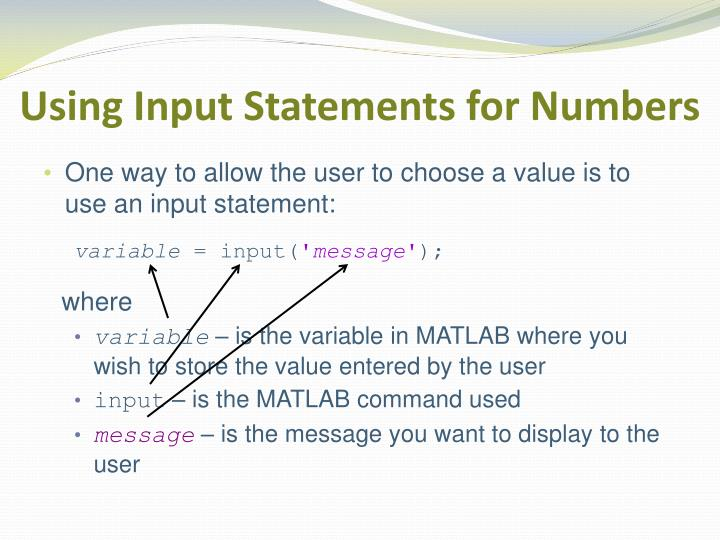Using Input Statements for Numbers