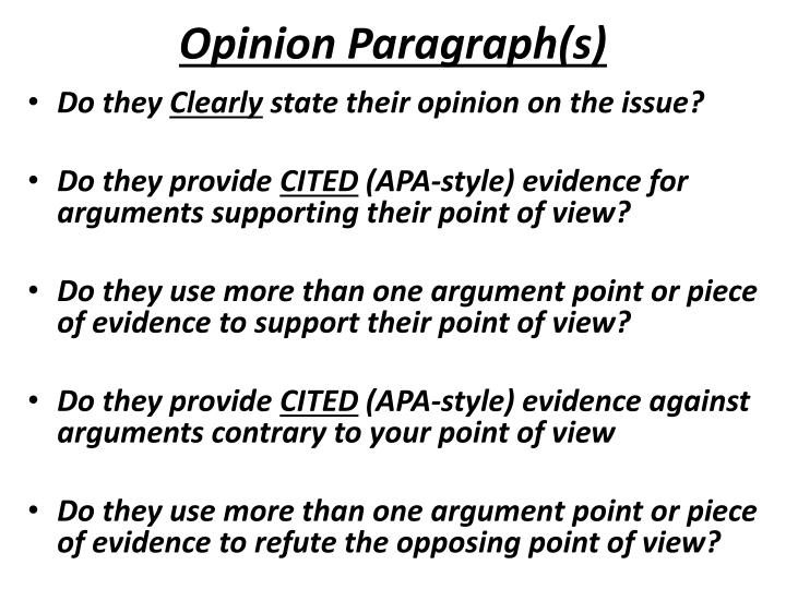 Opinion Paragraph(s)