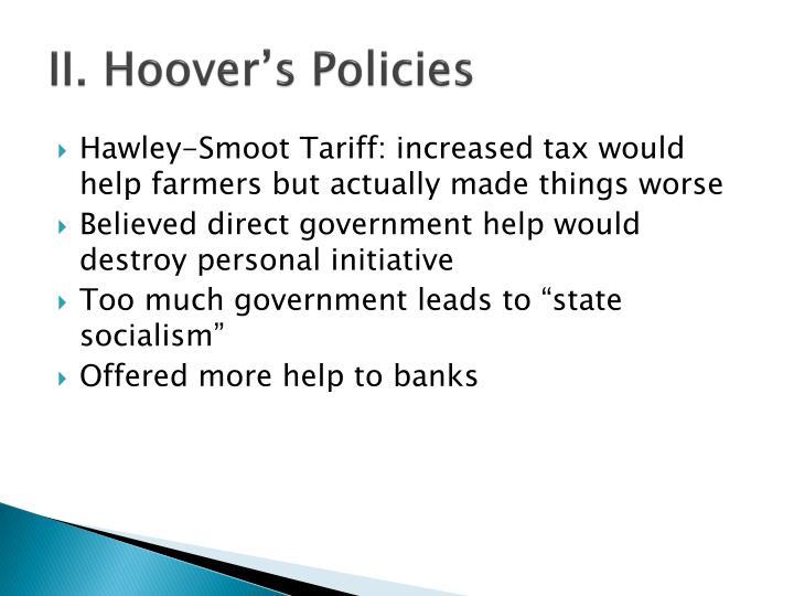 II. Hoover's Policies