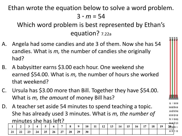 Ethan wrote the equation below to solve a word problem.