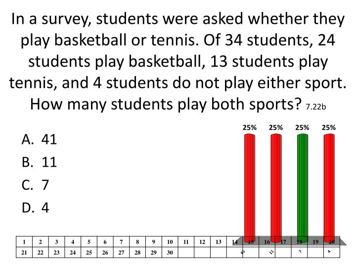 In a survey, students were asked whether they play basketball or tennis. Of 34 students, 24 students play basketball, 13 students play tennis, and 4 students do not play either sport. How many students play both sports?