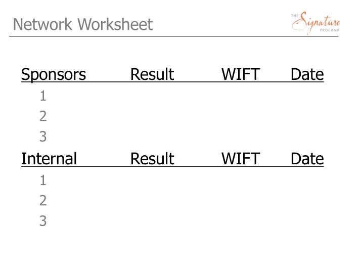 Network Worksheet