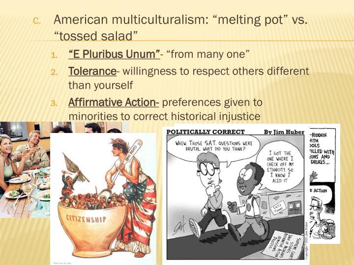 """American multiculturalism: """"melting pot"""" vs. """"tossed salad"""""""