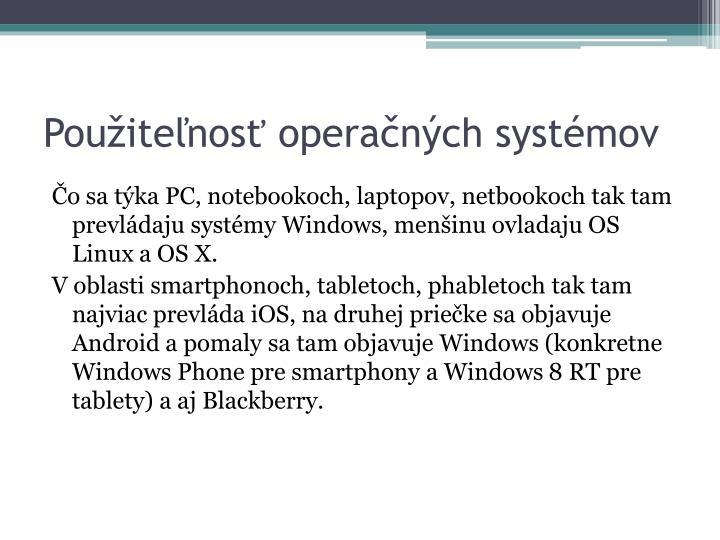 Použiteľnosť operačných systémov