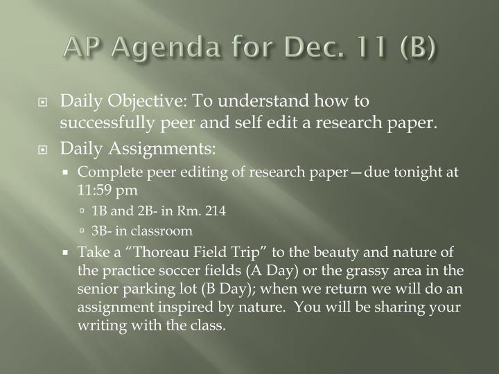 AP Agenda for Dec. 11 (B)