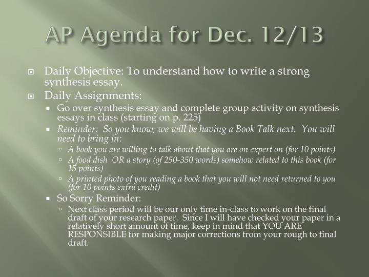 AP Agenda for Dec. 12/13