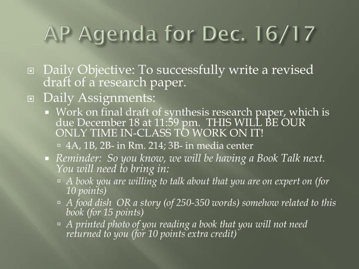 AP Agenda for Dec. 16/17