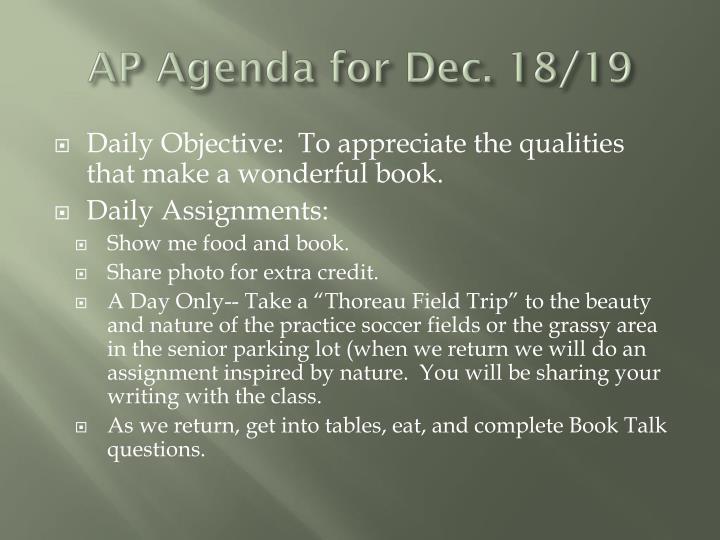 AP Agenda for Dec. 18/19