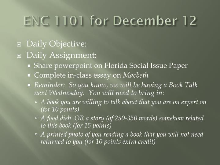 ENC 1101 for December 12