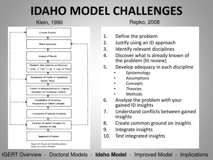 IDAHO MODEL CHALLENGES
