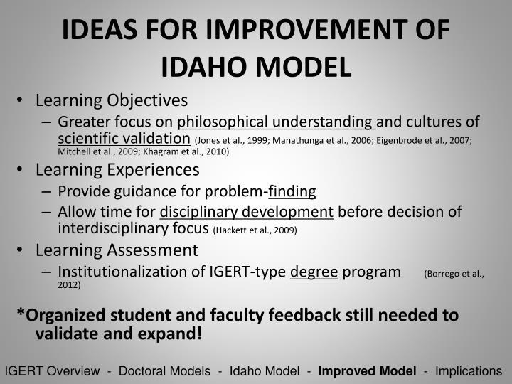 IDEAS FOR IMPROVEMENT OF IDAHO MODEL