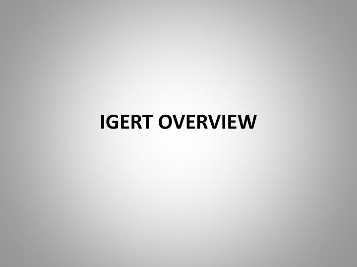 IGERT OVERVIEW