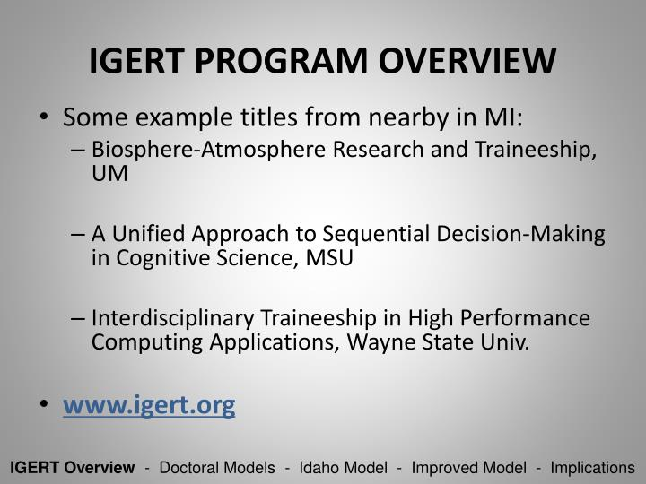 IGERT Program Overview