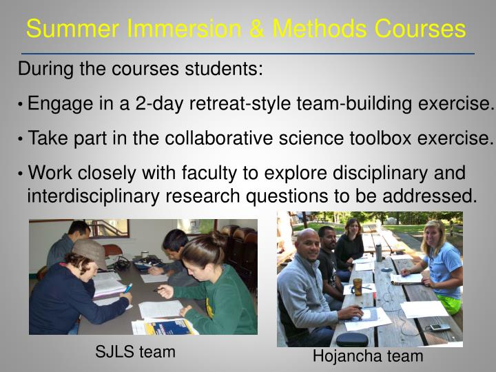 Summer Immersion & Methods Courses