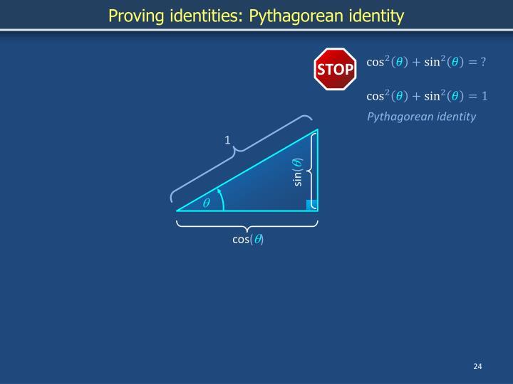 Proving identities: Pythagorean identity