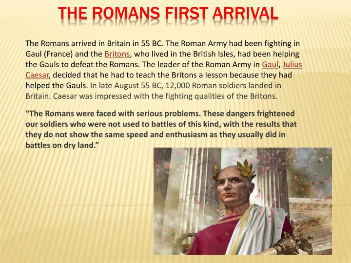 The romans first arrival
