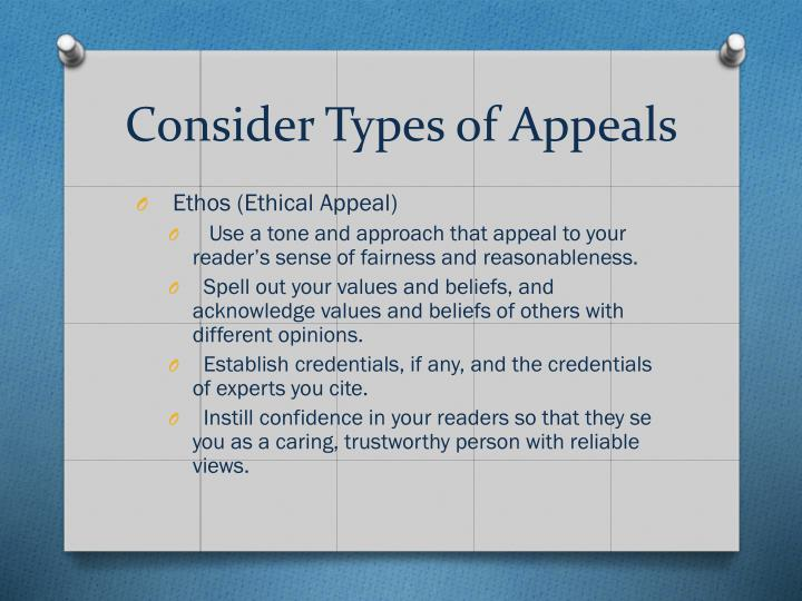 Consider Types of Appeals