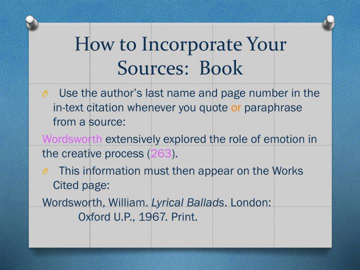 How to Incorporate Your Sources:  Book