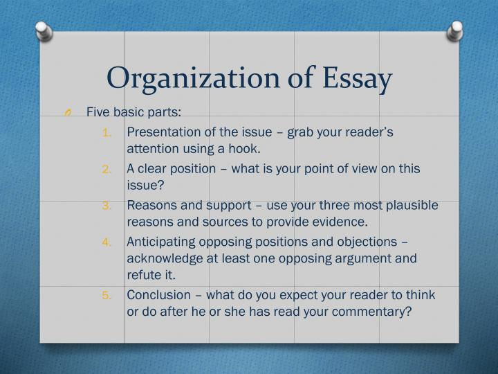 Organization of Essay