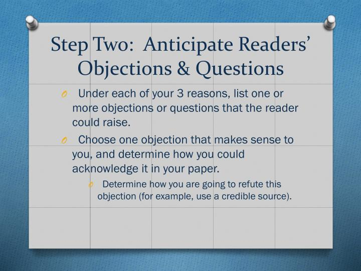Step two anticipate readers objections questions