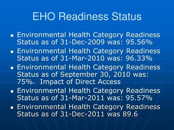 EHO Readiness Status