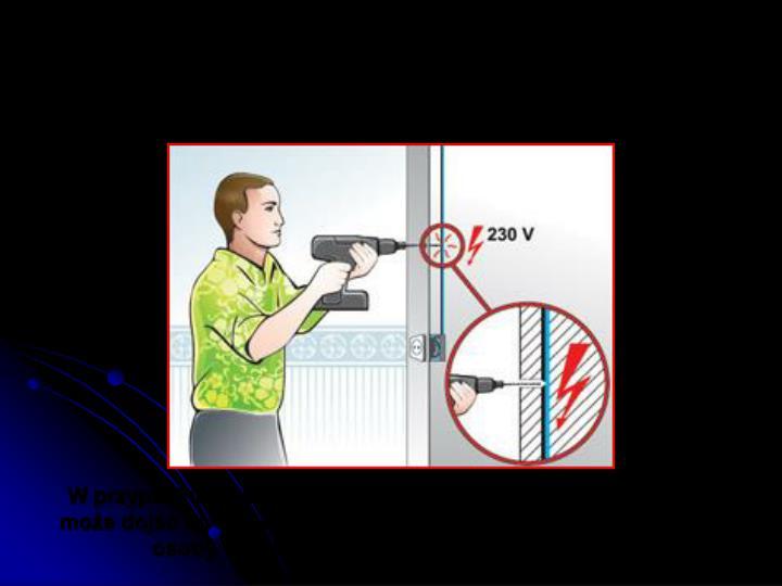 Wiercąc otwory trzeba zachować szczególne środki ostrożności, aby nie natknąć się na przewody instalacji elektrycznej ułożone w ścianie!
