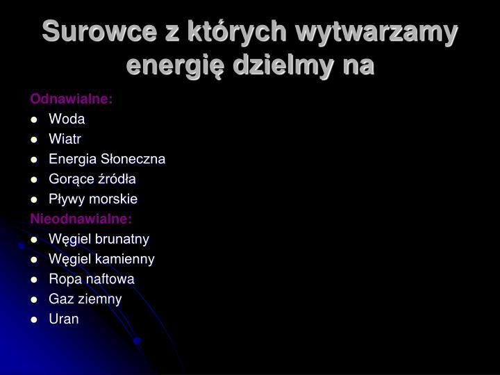 Surowce z których wytwarzamy energię dzielmy na