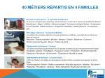 40 m tiers r partis en 4 familles