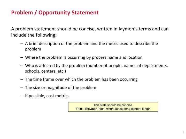 Problem opportunity statement