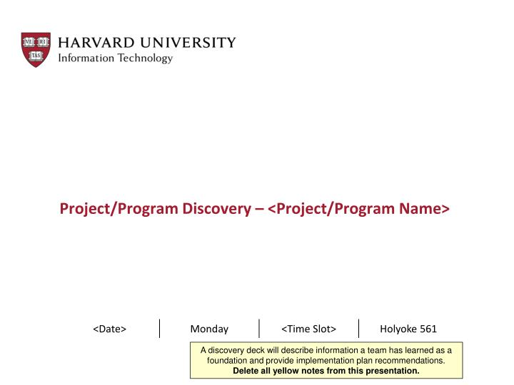 Project program discovery project program name