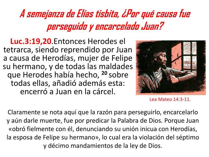A semejanza de Elías tisbita, ¿Por qué causa fue perseguido y encarcelado Juan?