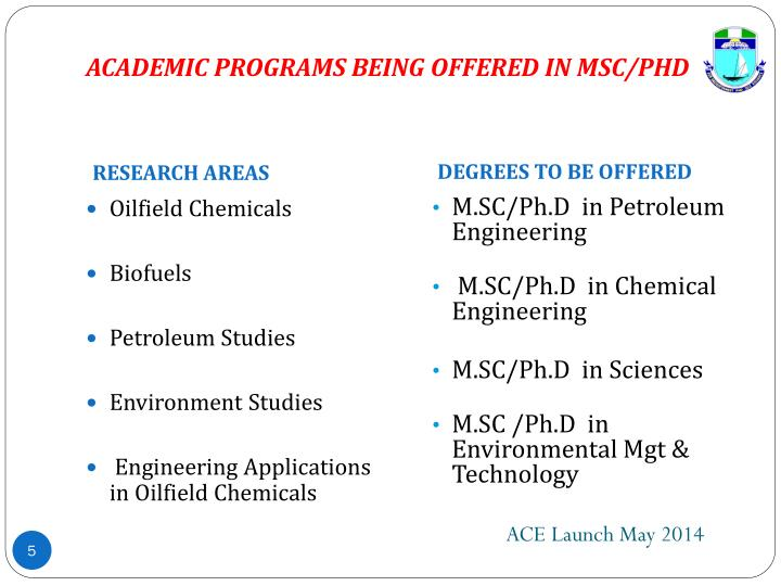 ACADEMIC PROGRAMS BEING OFFERED IN MSC/PHD