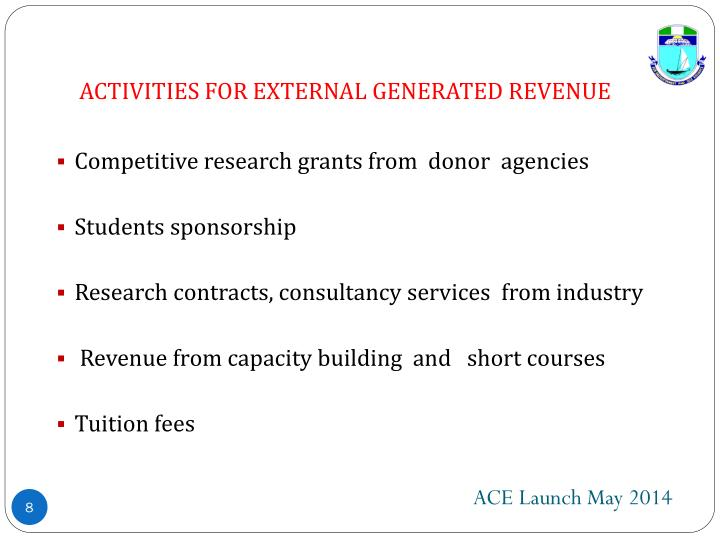 ACTIVITIES FOR EXTERNAL GENERATED REVENUE