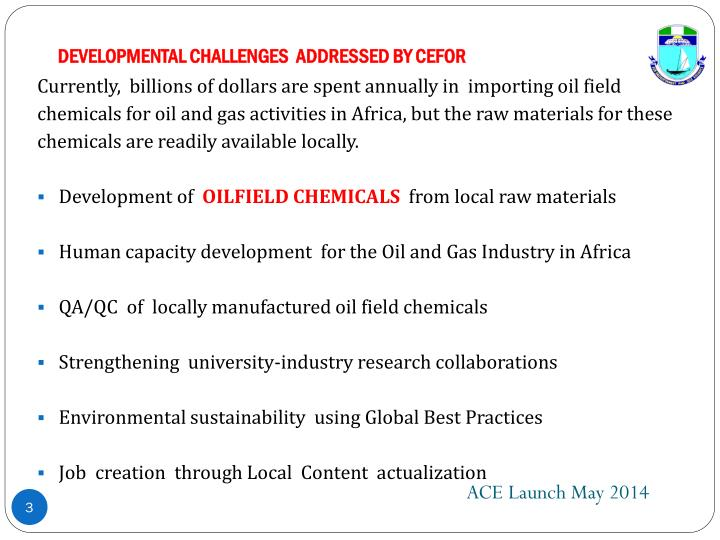 Developmental challenges addressed by cefor
