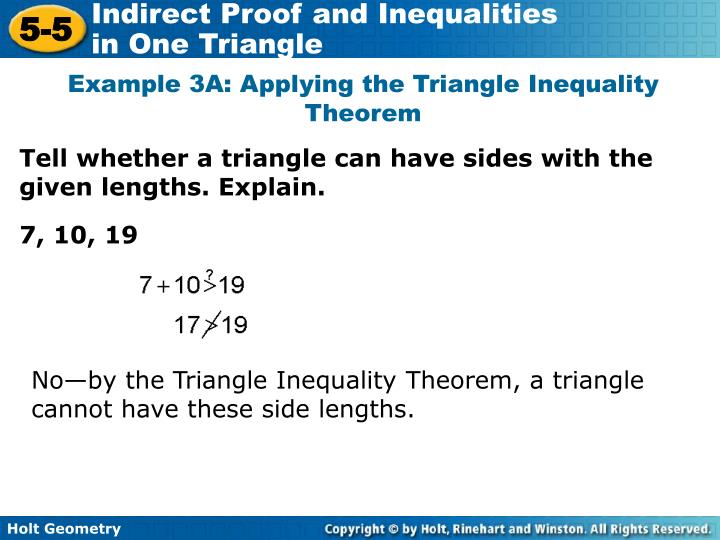 Example 3A: Applying the Triangle Inequality Theorem