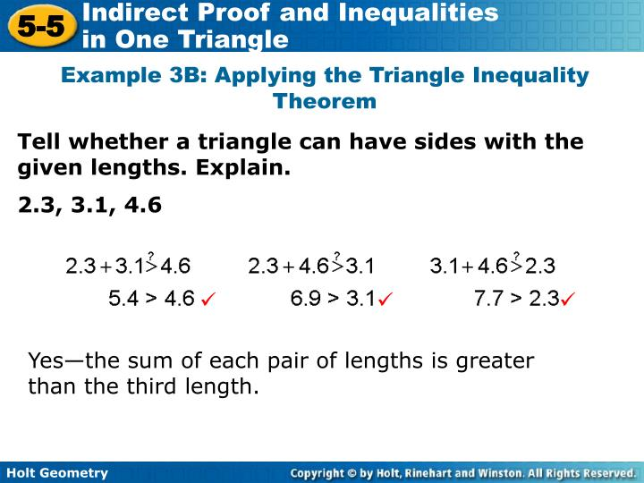 Example 3B: Applying the Triangle Inequality Theorem