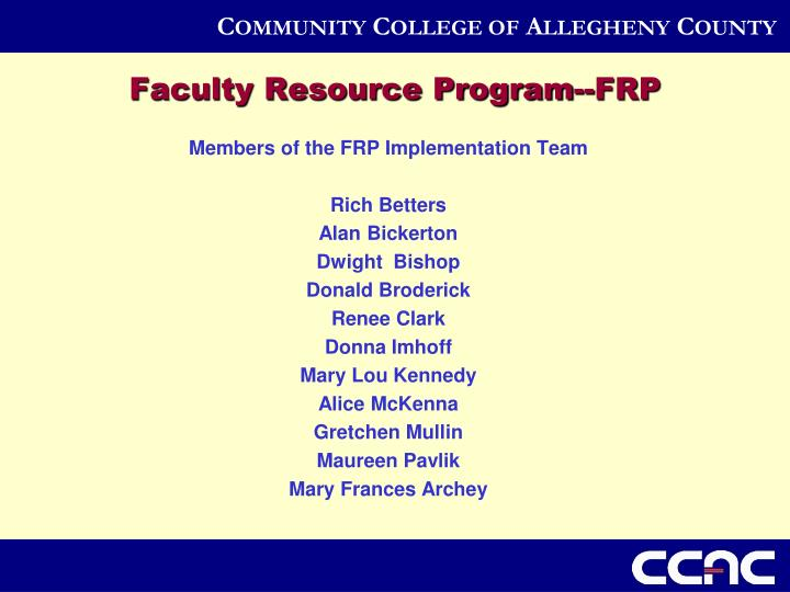 Faculty Resource Program--FRP