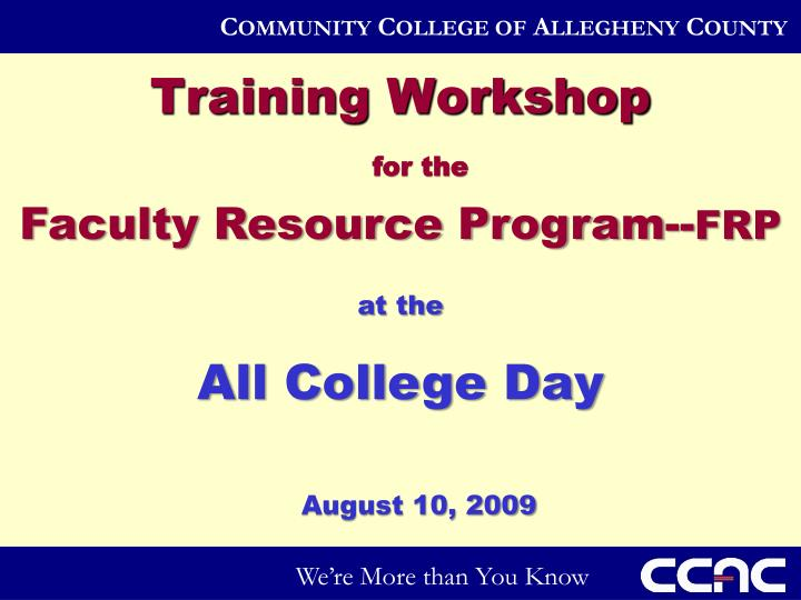 Training Workshop
