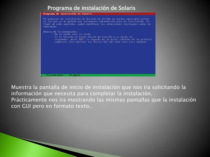 Programa de instalación de Solaris