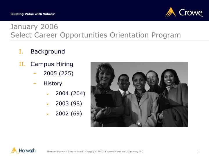 January 2006 select career opportunities orientation program