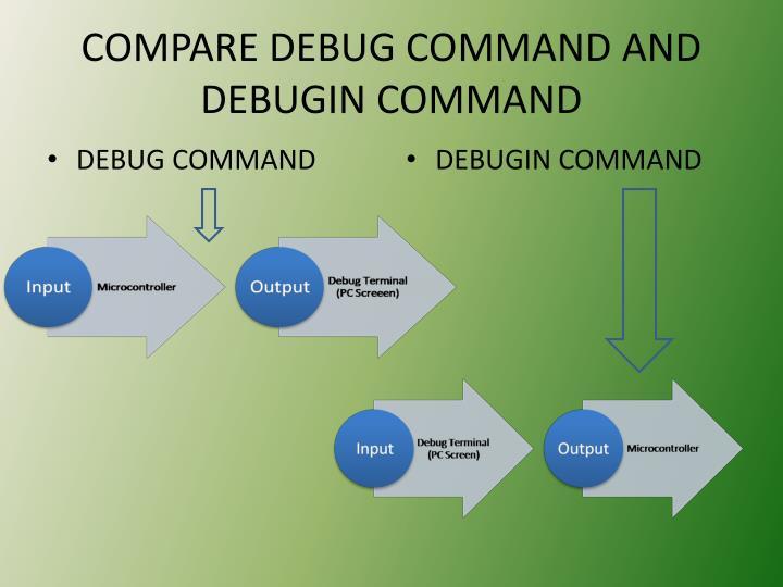 COMPARE DEBUG COMMAND AND DEBUGIN COMMAND