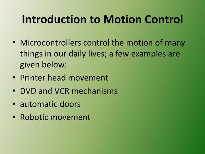 Introduction to motion control
