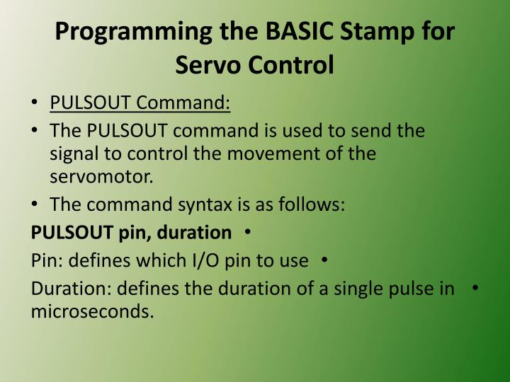 Programming the BASIC Stamp for Servo Control