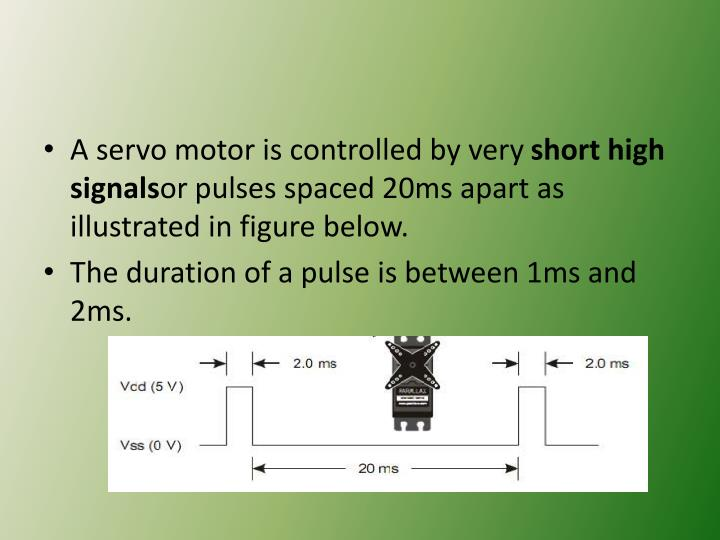 A servo motor is controlled by very