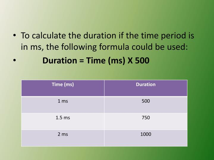 To calculate the duration if the time period is in ms, the following formula could be used: