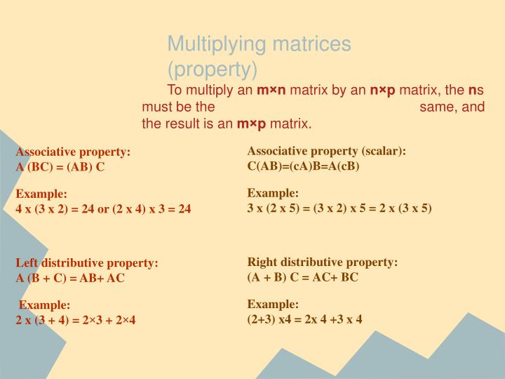 Multiplying matrices