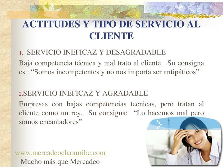 ACTITUDES Y TIPO DE SERVICIO AL CLIENTE