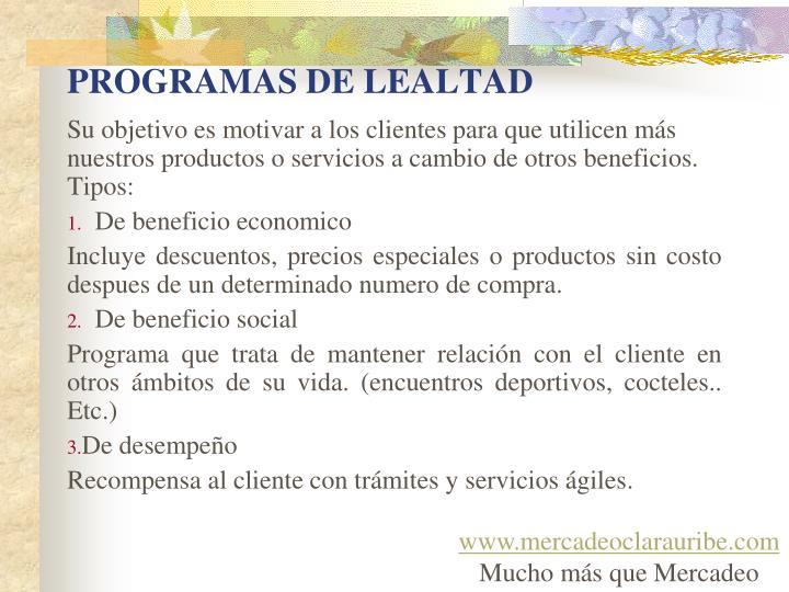 PROGRAMAS DE LEALTAD