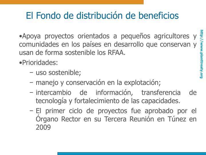 El Fondo de distribución de beneficios