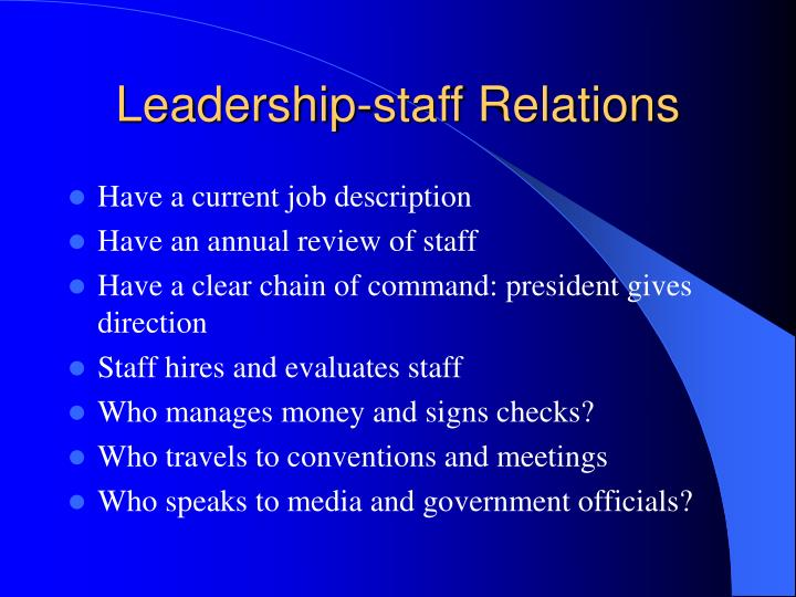 Leadership-staff Relations